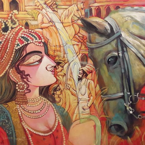 the queen, 36 x 24 inch, subrata ghosh,paintings,figurative paintings,horse paintings,paintings for dining room,paintings for living room,paintings for bedroom,paintings for office,paintings for hotel,canvas,acrylic color,36x24inch,GAL040216914