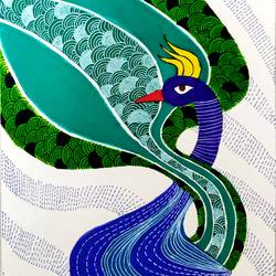peacock, 8 x 12 inch, jinal vadalia,figurative drawings,paintings,gond painting.,cartridge paper,ink color,8x12inch,GAL0718316919