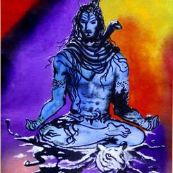 shiva, 14 x 22 inch, biju puthiyapurail,paintings,religious paintings,lord shiva paintings,paintings for living room,paintings for school,paintings for living room,paintings for school,ivory sheet,oil,14x22inch,GAL047416927