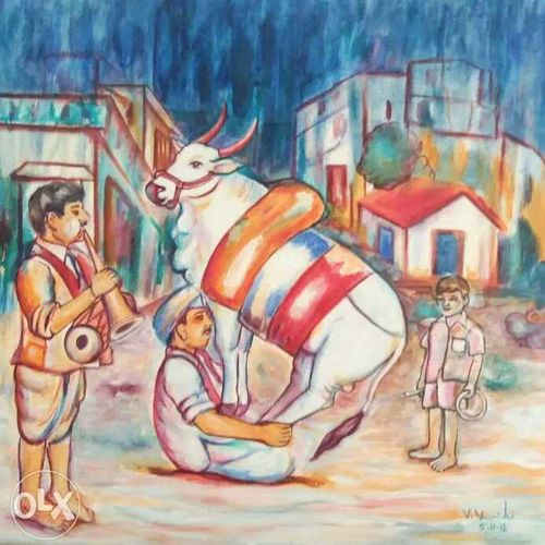 pongal, 24 x 24 inch, v veeraiah,modern art paintings,paintings for living room,canvas,acrylic color,24x24inch,GAL06701693