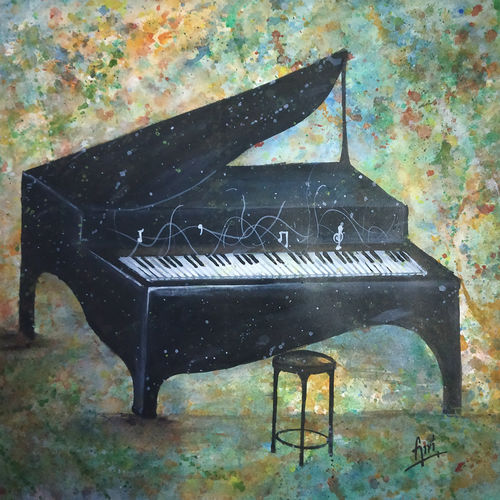 contemporary art - piano, 17 x 12 inch, giridhar alwar,paintings,abstract paintings,modern art paintings,paintings for living room,paintings for bedroom,paintings for office,paintings for kids room,paintings for hotel,thick paper,acrylic color,17x12inch,GAL0740816932