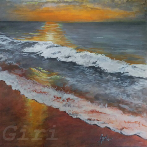 beach and tides, 12 x 17 inch, giridhar alwar,paintings,landscape paintings,nature paintings,photorealism,realism paintings,realistic paintings,paintings for living room,paintings for bedroom,paintings for office,paintings for kids room,paintings for hotel,paintings for school,thick paper,acrylic color,12x17inch,GAL0740816934Nature,environment,Beauty,scenery,greenery