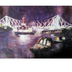 kolkata's howrah bridge at night, 22 x 14 inch, sanjay datta,paintings,cityscape paintings,renaissance watercolor paper,watercolor,22x14inch,GAL0765816937