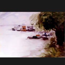 riverside kolkata, 14 x 10 inch, sanjay datta,paintings,nature paintings,renaissance watercolor paper,watercolor,14x10inch,GAL0765816938Nature,environment,Beauty,scenery,greenery