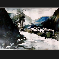 landscape, 22 x 14 inch, sanjay datta,paintings,landscape paintings,nature paintings,renaissance watercolor paper,watercolor,22x14inch,GAL0765816939Nature,environment,Beauty,scenery,greenery