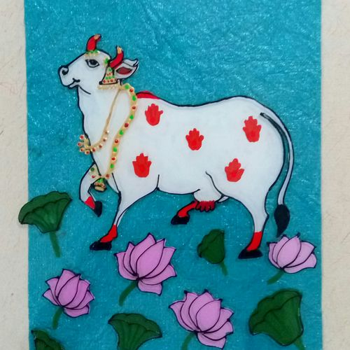 kamdhenu cow, 8 x 10 inch, deepti agrawal,paintings,figurative paintings,religious paintings,nature paintings,animal paintings,paintings for dining room,paintings for living room,paintings for hotel,paintings for hospital,acrylic glass,mixed media,8x10inch,GAL0596816946Nature,environment,Beauty,scenery,greenery