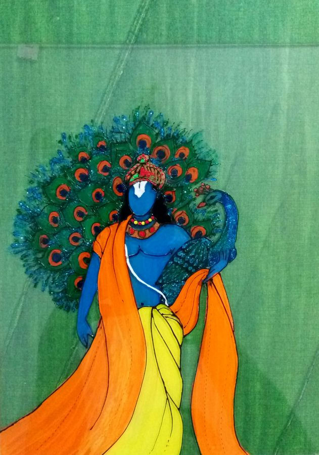 krishna peacock, 8 x 10 inch, deepti agrawal,paintings,figurative paintings,modern art paintings,illustration paintings,radha krishna paintings,paintings for dining room,paintings for living room,paintings for office,paintings for hotel,acrylic glass,mixed media,8x10inch,GAL0596816947,krishna,lordkrishna,love,peace,flute,music,peacock