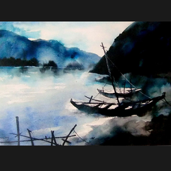 boats at riverside, 28 x 24 inch, sanjay datta,paintings,landscape paintings,nature paintings,handmade paper,watercolor,28x24inch,GAL0765816950Nature,environment,Beauty,scenery,greenery