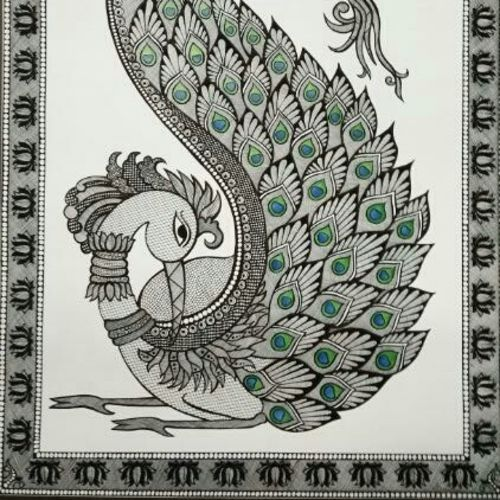 the peacock_ beauty of feathers , 17 x 23 inch, anushree  jain,paintings,miniature painting.,paintings for dining room,paintings for living room,paintings for bedroom,paintings for office,paintings for hotel,paintings for dining room,paintings for living room,paintings for bedroom,paintings for office,paintings for hotel,thick paper,pen color,pencil color,17x23inch,GAL0765716955