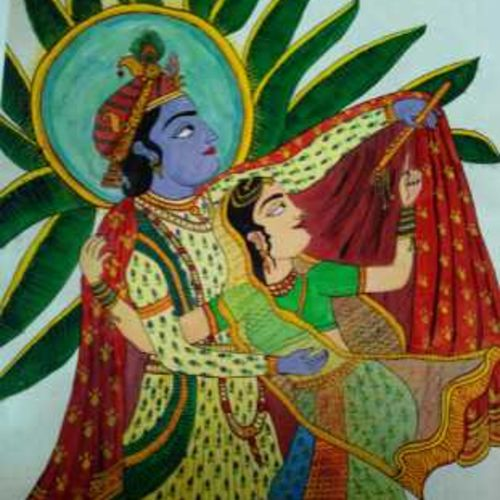 radha krishna _love, 10 x 15 inch, anushree  jain,paintings,radha krishna paintings,paintings for dining room,paintings for living room,paintings for office,paintings for hotel,paintings for kitchen,paintings for school,paintings for hospital,miniature painting.,paper,poster color,10x15inch,GAL0765716961,radhakrishna,love,pece,lordkrishna,,lordradha,peace,radha,krishna,devotion,couple