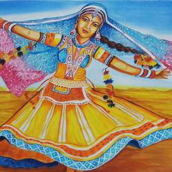 rajasthani folk dancer, 18 x 24 inch, sandhya kumari,paintings,figurative paintings,folk art paintings,landscape paintings,portrait paintings,nature paintings,photorealism,animal paintings,paintings for dining room,paintings for living room,paintings for bedroom,paintings for office,paintings for kids room,paintings for hotel,paintings for kitchen,canvas,acrylic color,18x24inch,GAL0365916965Nature,environment,Beauty,scenery,greenery