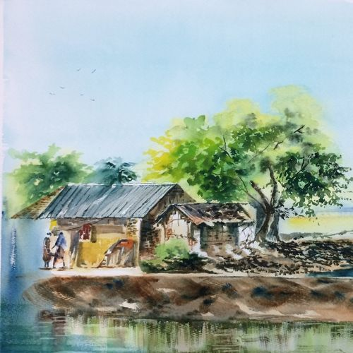 nature painting-a day in shikharpur, 25 x 17 inch, dipankar  biswas,paintings,landscape paintings,nature paintings,paintings for living room,paintings for bedroom,paintings for hotel,canson paper,watercolor,25x17inch,GAL0293216967Nature,environment,Beauty,scenery,greenery