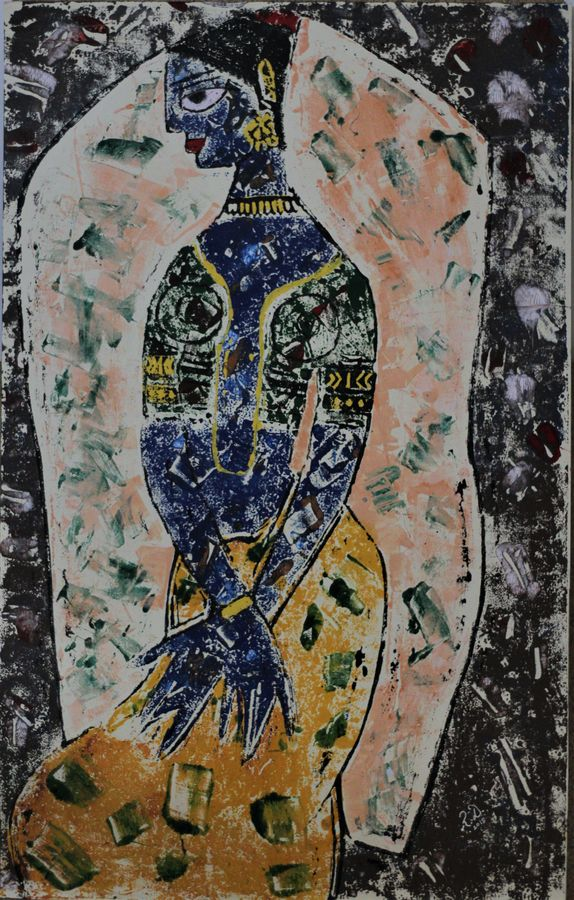 meenakshi- fish eye, 18 x 29 inch, r. d.,figurative paintings,paintings for dining room,paintings for living room,paintings for bedroom,paintings for office,paintings for hotel,oil sheet,wood cut,18x29inch,GAL0755317016
