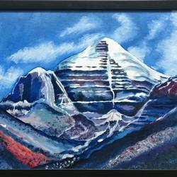 the majestic kailash, 32 x 22 inch, madhavi  marathe,paintings,landscape paintings,paintings for dining room,paintings for living room,paintings for office,paintings for hotel,canvas,oil,32x22inch,GAL0770717024