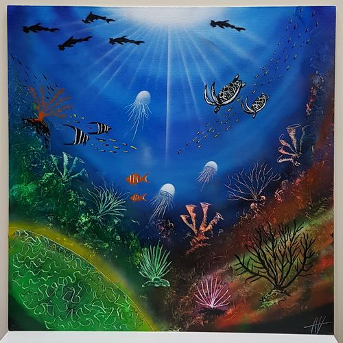 underwater world's , 24 x 24 inch, aizaz vakil,wildlife paintings,paintings for dining room,paintings for living room,paintings for bedroom,paintings for office,canvas board,acrylic color,24x24inch,GAL0772117032,underwater,fishes,water,jellyfish
