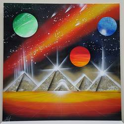 pyramids of the other world's , 24 x 24 inch, aizaz vakil,paintings,conceptual paintings,canvas board,acrylic color,24x24inch,GAL0772117034