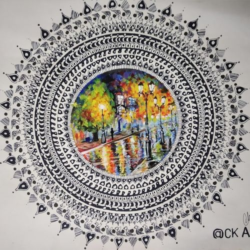 painting inside the mandala , 15 x 11 inch, chandrakesh  singh,paintings,flower paintings,nature paintings,art deco paintings,illustration paintings,paintings for dining room,paintings for living room,paintings for bedroom,paintings for office,paintings for bathroom,paintings for kids room,paintings for hotel,paintings for kitchen,paintings for school,paintings for hospital,paper,acrylic color,ink color,15x11inch,GAL0705617047Nature,environment,Beauty,scenery,greenery