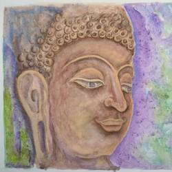 buddha, 16 x 12 inch, ram mohan e,paintings,buddha paintings,paintings for living room,paintings for office,paintings for hotel,paintings for school,drawing paper,watercolor,16x12inch,religious,peace,meditation,meditating,gautam,goutam,buddha,lord,brown, side face,GAL069717053