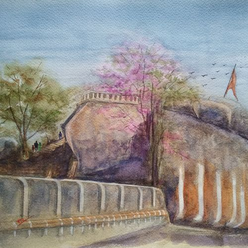 cityscapes / landscapes, 16 x 12 inch, ram mohan e,paintings,cityscape paintings,landscape paintings,paintings for living room,paintings for office,paintings for hotel,paintings for school,paintings for hospital,brustro watercolor paper,watercolor,16x12inch,GAL069717054