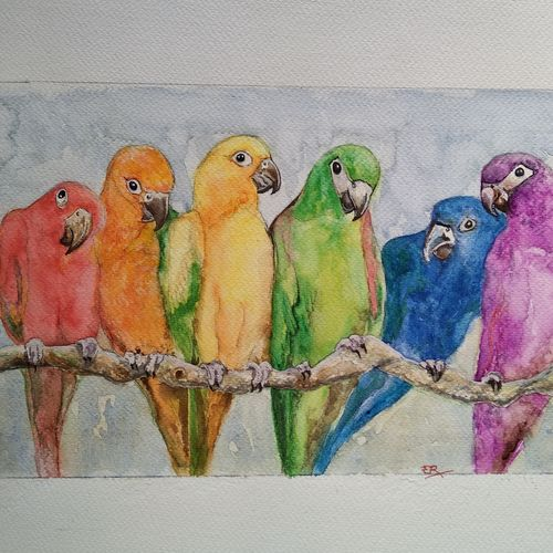 colorful parrots, 15 x 11 inch, ram mohan e,paintings,nature paintings,animal paintings,love paintings,paintings for living room,paintings for bedroom,paintings for office,paintings for kids room,paintings for school,paintings for living room,paintings for bedroom,paintings for office,paintings for kids room,paintings for school,fabriano sheet,watercolor,15x11inch,GAL069717060Nature,environment,Beauty,scenery,greenery