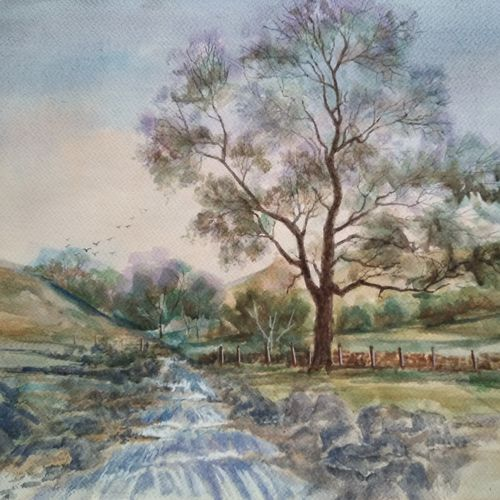 watercolour landscape, 16 x 12 inch, ram mohan e,paintings,landscape paintings,nature paintings,paintings for living room,paintings for office,paintings for kids room,paintings for school,brustro watercolor paper,watercolor,16x12inch,GAL069717064Nature,environment,Beauty,scenery,greenery