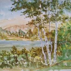 watercolour landscape , 15 x 11 inch, ram mohan e,paintings,landscape paintings,nature paintings,paintings for living room,paintings for office,paintings for kids room,paintings for school,fabriano sheet,watercolor,15x11inch,GAL069717065Nature,environment,Beauty,scenery,greenery