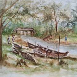 riverscape landscape, 15 x 11 inch, ram mohan e,paintings,landscape paintings,nature paintings,paintings for living room,paintings for office,paintings for kids room,paintings for hotel,paintings for school,fabriano sheet,watercolor,15x11inch,GAL069717067Nature,environment,Beauty,scenery,greenery