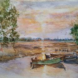 riverscape, 14 x 10 inch, ram mohan e,paintings,landscape paintings,nature paintings,paintings for living room,paintings for office,paintings for kids room,paintings for hotel,paintings for school,handmade paper,watercolor,14x10inch,GAL069717069Nature,environment,Beauty,scenery,greenery