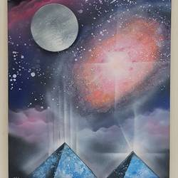 glow in the dark pyramids, 16 x 20 inch, aizaz vakil,paintings,modern art paintings,canvas board,acrylic color,16x20inch,GAL0772117071