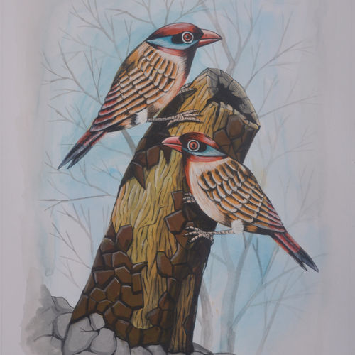 birds painting 42, 9 x 12 inch, santosh patil,paintings,nature paintings,animal paintings,love paintings,paintings for dining room,paintings for living room,paintings for bedroom,paintings for office,paintings for kids room,paintings for hotel,paintings for kitchen,paintings for school,paintings for hospital,drawing paper,poster color,9x12inch,GAL0178117074heart,family,caring,happiness,forever,happy,trust,passion,romance,sweet,kiss,love,hugs,warm,fun,kisses,joy,friendship,marriage,chocolate,husband,wife,forever,caring,couple,sweetheartNature,environment,Beauty,scenery,greenery