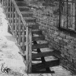 stairs, 14 x 11 inch, biju puthiyapurail,paintings for living room,illustration drawings,drawings,fine art drawings,paintings for office,paintings for hotel,ivory sheet,ball point pen,14x11inch,GAL04741708