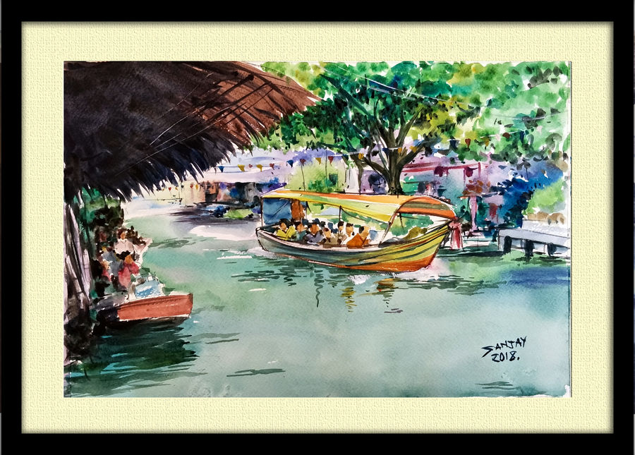 floting market, 15 x 11 inch, sanjay  das,paintings,still life paintings,paintings for dining room,paintings for living room,paintings for bedroom,paintings for hotel,paintings for kitchen,paintings for dining room,paintings for living room,paintings for bedroom,paintings for hotel,paintings for kitchen,fabriano sheet,watercolor,15x11inch,GAL0322017088