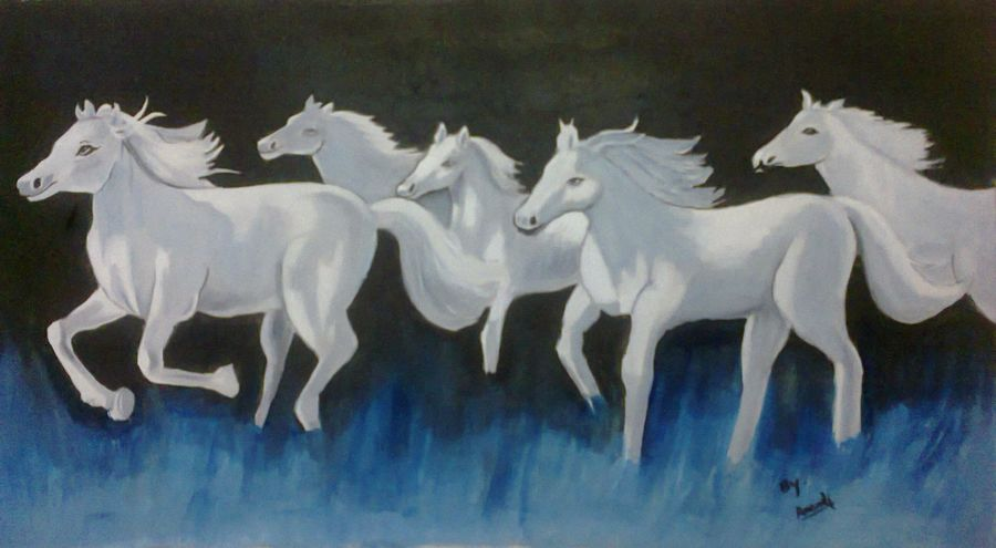running horse, 17 x 10 inch, anandi m,paintings,horse paintings,paintings for dining room,paintings for living room,paintings for bedroom,paintings for office,paintings for hotel,paintings for school,canvas,oil,17x10inch,GAL0307717094