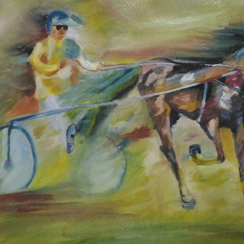 horse riding, 17 x 11 inch, anandi m,paintings,horse paintings,paintings for dining room,paintings for living room,paintings for bedroom,paintings for office,paintings for hotel,paintings for school,canvas,oil,17x11inch,GAL0307717095