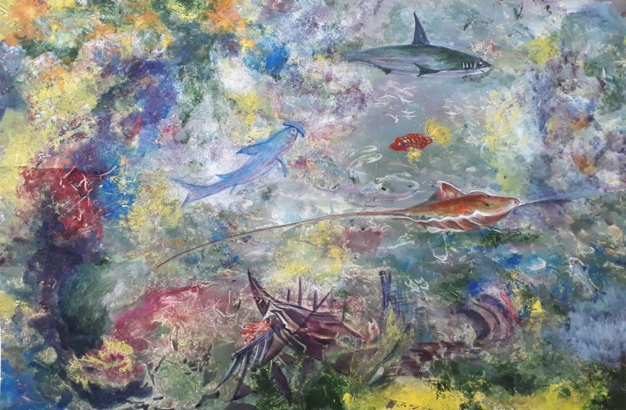 aquarium, 24 x 18 inch, bablu pramanik,abstract paintings,wildlife paintings,animal paintings,oil sheet,acrylic color,24x18inch,GAL0773817099