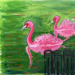 pink ducks in a lake, 16 x 12 inch, abhik mahanti,paintings,nature paintings,canvas,acrylic color,16x12inch,GAL0404417102Nature,environment,Beauty,scenery,greenery
