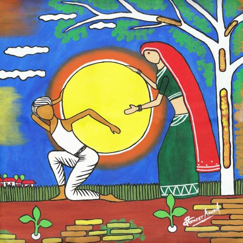 the couple-holding the sun, 24 x 24 inch, samit kumar,paintings,abstract paintings,paintings for living room,canvas,acrylic color,24x24inch,GAL0443417103