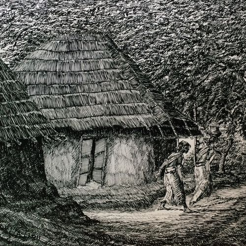 fine arts - kharibari village life i, 14 x 9 inch, aloke  dutta,drawings,fine art drawings,paintings for living room,paintings for bedroom,paintings for office,paintings for hotel,drawing paper,ink color,pen color,14x9inch,GAL0767917104