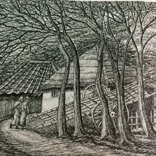 fine arts - santiniketan iv, 17 x 10 inch, aloke  dutta,drawings,fine art drawings,paintings for dining room,paintings for living room,paintings for bedroom,paintings for office,paintings for hotel,drawing paper,ink color,pen color,17x10inch,GAL0767917109