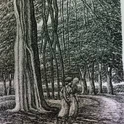 fine arts - santiniketan v, 10 x 17 inch, aloke  dutta,drawings,fine art drawings,paintings for dining room,paintings for living room,paintings for bedroom,paintings for office,paintings for hotel,drawing paper,ink color,pen color,10x17inch,GAL0767917110