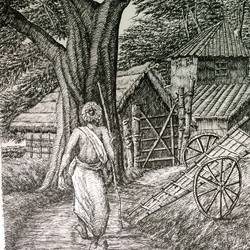 fine arts - santiniketan vi, 10 x 17 inch, aloke  dutta,drawings,fine art drawings,paintings for dining room,paintings for living room,paintings for bedroom,paintings for office,paintings for hotel,drawing paper,ink color,pen color,10x17inch,GAL0767917112