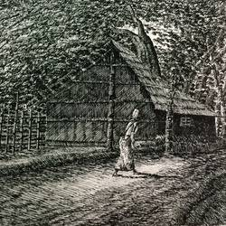fine arts - kharibari village life iii, 14 x 9 inch, aloke  dutta,drawings,fine art drawings,paintings for dining room,paintings for living room,paintings for bedroom,paintings for office,paintings for hotel,drawing paper,ink color,pen color,14x9inch,GAL0767917115