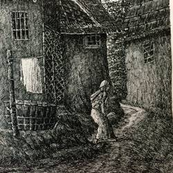 fine arts - kharibari village life v, 9 x 14 inch, aloke  dutta,drawings,fine art drawings,paintings for dining room,paintings for living room,paintings for bedroom,paintings for office,paintings for hotel,drawing paper,ink color,pen color,9x14inch,GAL0767917117