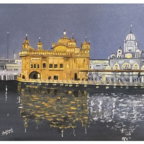 golden temple, 16 x 12 inch, subhash gijare,paintings,cityscape paintings,landscape paintings,paintings for dining room,paintings for living room,paintings for bedroom,paintings for office,paintings for kids room,paintings for hotel,paintings for hospital,canvas,oil,16x12inch,GAL013817125