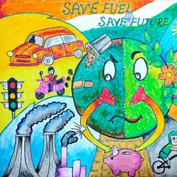 fuel conservation, 12 x 15 inch, amol khatri,drawings,abstract drawings,modern drawings,paper,charcoal,mixed media,pastel color,pen color,pencil color,poster color,12x15inch,GAL0290917132