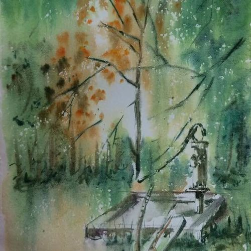 nature painting - as if water is supplied by the trees around, 14 x 21 inch, dipankar  biswas,paintings,landscape paintings,nature paintings,paintings for dining room,paintings for living room,paintings for bedroom,paintings for office,paintings for hotel,handmade paper,watercolor,14x21inch,GAL0293217138Nature,environment,Beauty,scenery,greenery