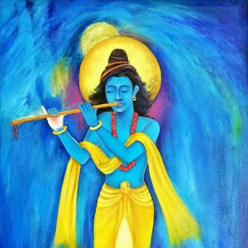 krishna-in the soul, 14 x 17 inch, a.b.  kaser,religious paintings,paintings for living room,radha krishna paintings,canvas,oil paint,14x17inch,GAL06361714,krishna,lord,lordkrishna,flute,music,peace