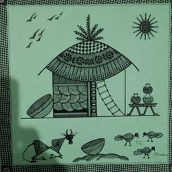 the house _ center painting of set 1, 10 x 10 inch, anushree  jain,paintings,warli paintings,miniature painting.,paintings for dining room,paintings for living room,paintings for hotel,paintings for kitchen,thick paper,pen color,10x10inch,GAL0765717141