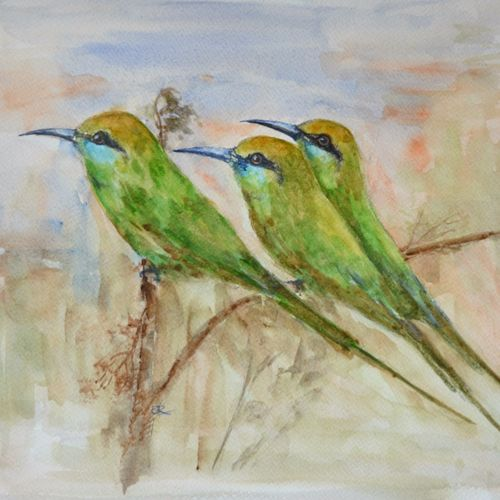 birds, 15 x 11 inch, ram mohan e,paintings,wildlife paintings,nature paintings,animal paintings,paintings for living room,paintings for kids room,paintings for school,paintings for living room,paintings for kids room,paintings for school,fabriano sheet,watercolor,15x11inch,GAL069717146Nature,environment,Beauty,scenery,greenery