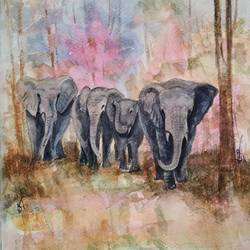 elephant, 9 x 11 inch, ram mohan e,paintings,wildlife paintings,nature paintings,animal paintings,elephant paintings,paintings for living room,paintings for kids room,paintings for school,fabriano sheet,watercolor,9x11inch,GAL069717156Nature,environment,Beauty,scenery,greenery
